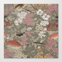 Fishes & Flowers - Seaml… Canvas Print
