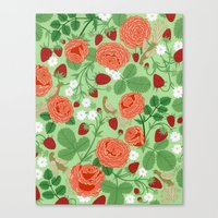 Roses And Strawberries O… Canvas Print