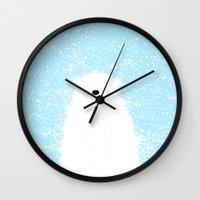 Its A Polar Bear Blinking In A Blizzard - Blue Wall Clock