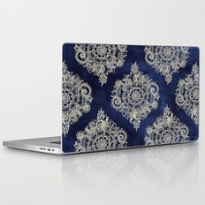 Cream Floral Moroccan Pattern on Deep Indigo Ink Laptop & iPad Skin