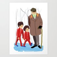 wes anderson Art Prints featuring let's shag ass (wes anderson) by Lindsay Pak
