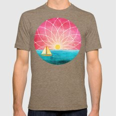 Sailing At Sunset Mens Fitted Tee Tri-Coffee SMALL