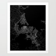 Auckland Map New Zeland Art Print