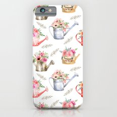 Garden watering cans and flowers. Vintage pattern iPhone 6 Slim Case