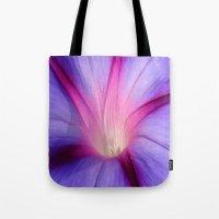 Lilac and Fuschia Morning Glory in Macro Tote Bag