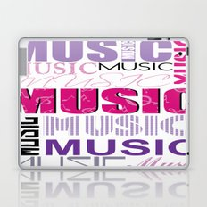 The Word Music In Purple and Pink Laptop & iPad Skin