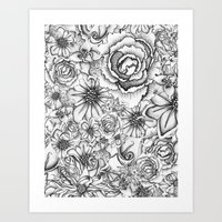 B&W Flowers  Art Print