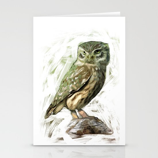 Olive Owl Stationery Card