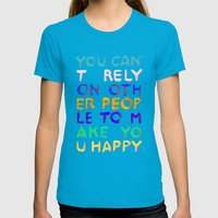 RELY / ABSOLUTELY HAPPY VERSION Womens Fitted Tee Teal SMALL
