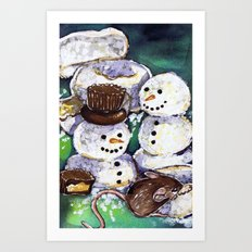 Mouse making snowman Art Print