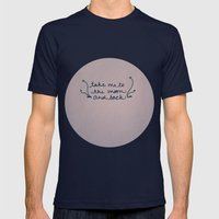 To The Moon Mens Fitted Tee Navy SMALL
