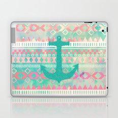 Sailing Aztec | Emerald Nautical Anchor Pastel Watercolor Aztec Laptop & iPad Skin