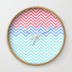 Chevron Blue and Red vintage Wall Clock
