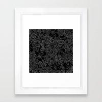 Snaky Fleur, Black and Grey Framed Art Print