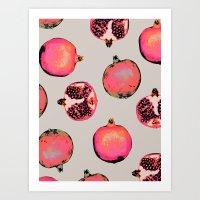 patterns Art Prints featuring Pomegranate Pattern by Georgiana Paraschiv