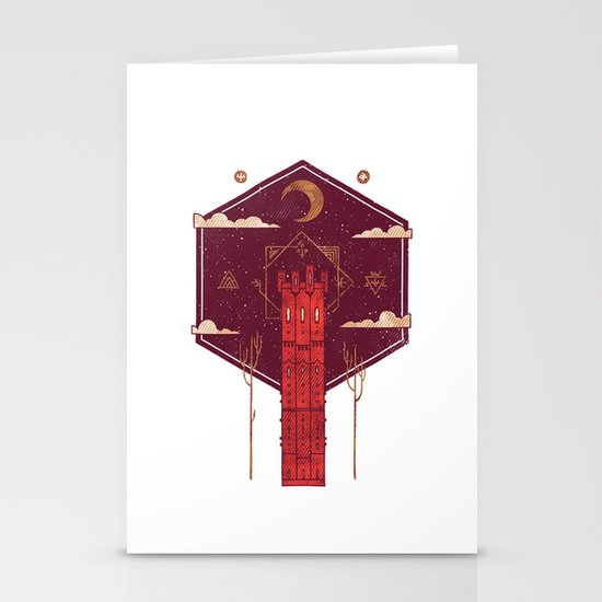 The Crimson Tower Stationery Card