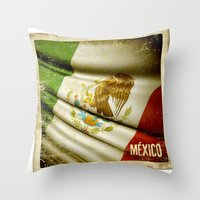 STICKER OF MEXICO Flag Throw Pillow
