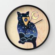 Wall Clock featuring Ouija Cat by Kiki Stardust (OLD)