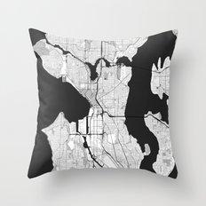 Seattle Map Gray Throw Pillow