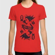 Queen Of Spades Womens Fitted Tee Red MEDIUM