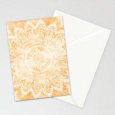 TANGERINE BOHO FLOWER MANDALA Stationery Cards