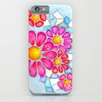 Raspberry Daisies and Icy Blue Crystals iPhone 6 Slim Case