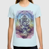 Buddha  Womens Fitted Tee Light Blue SMALL