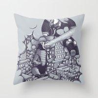 Lucha Kaiju Throw Pillow