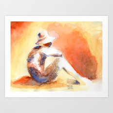 SUNSET AQUARELLE Art Print