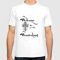 Alice In Wonderland Welcome To Wonderland Mens Fitted Tee White SMALL