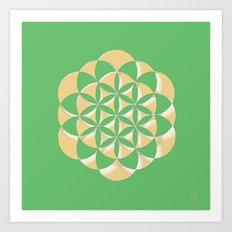 Golden life - Green Art Print