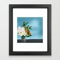White Roses & Tangerines Framed Art Print
