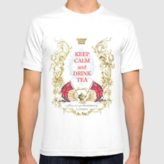 Keep calm and drink tea Mens Fitted Tee White SMALL