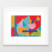 3 Sail Boats At Sea Framed Art Print
