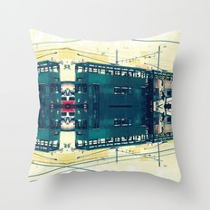 Tramway collage cityscape in Hong Kong Throw Pillow