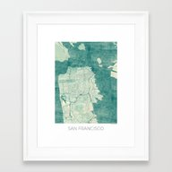 San Francisco Map Blue V… Framed Art Print