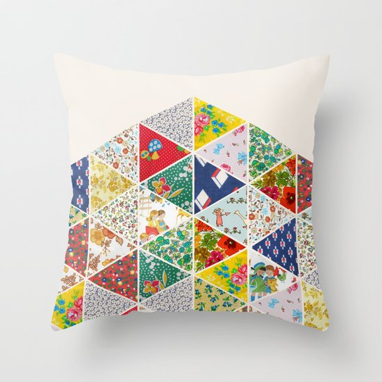 Geometric Floral Quilt Throw Pillow
