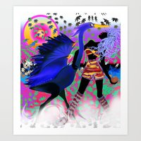 blue heron with mistress Art Print