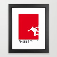 My Superhero 04 SpiderRed Minimal poster Framed Art Print