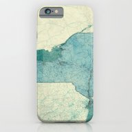 New York Map Blue Vintag… iPhone 6 Slim Case