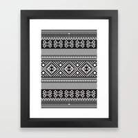 Monochrome Aztec inspired geometric pattern Framed Art Print