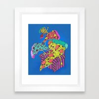 Pizza Eating Pizza - Blu… Framed Art Print
