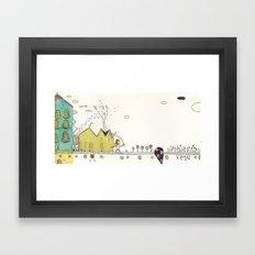 Walking Downtown Framed Art Print