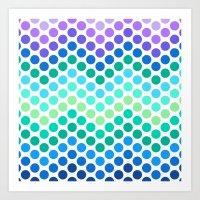 Dot Chevron: Blue Purple Art Print