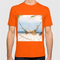 Chill, Relax, it's Summertime!! Mens Fitted Tee Orange SMALL