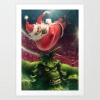 Santa Win Art Print