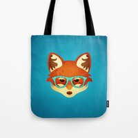 Hipster Fox: Azure Tote Bag