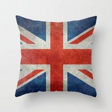 UK British Union Jack flag retro style Throw Pillow
