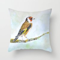 European goldfinch on tree branch Throw Pillow