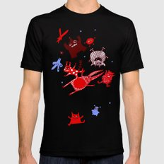 levitating monsters SMALL Mens Fitted Tee Black